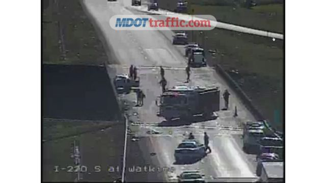 All southbound lanes blocked on I-220 at Watkins Drive exit
